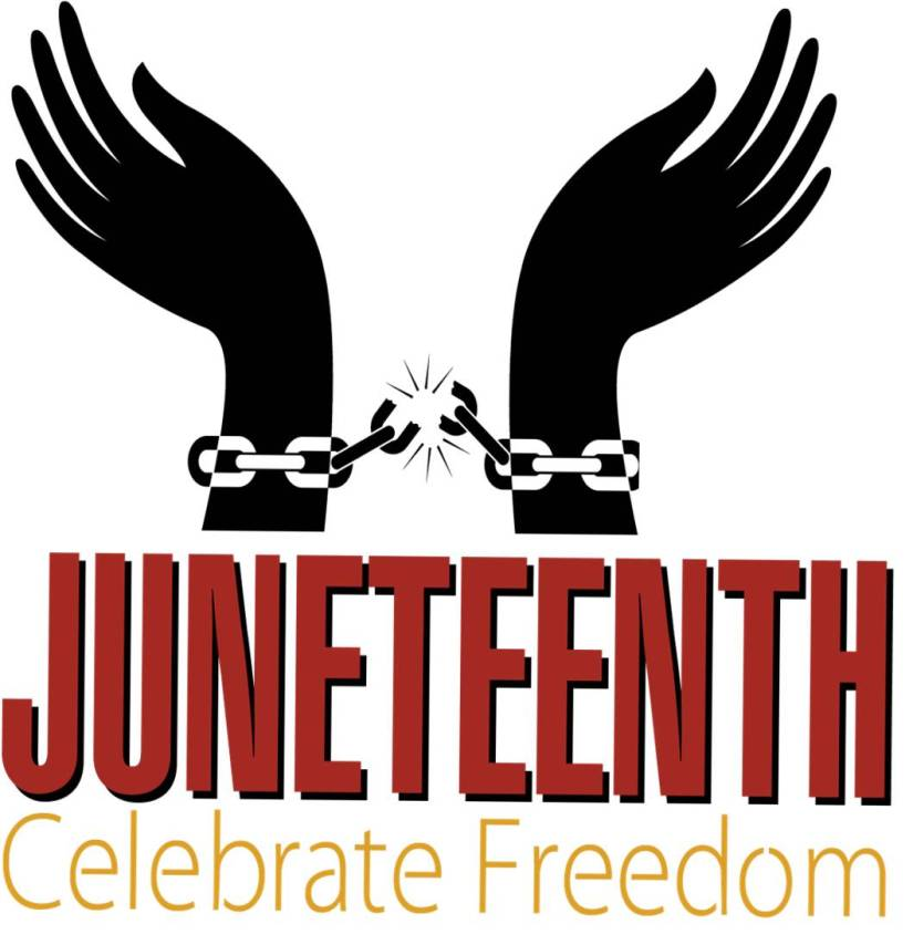 two black hands riased with their wrist bound chains broken. Juneteenth! Celebrate Freedom