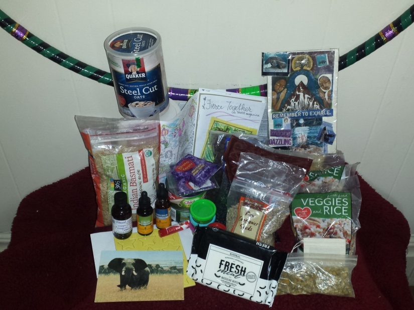 Items of a Care Package. Food, herbal medicine, toys, art, journals, hygiene, and majikal tools.
