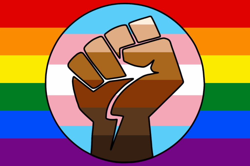 A Trans flag in a Pride, and with 5 shades of People Of Heritage in a single fist -Flag