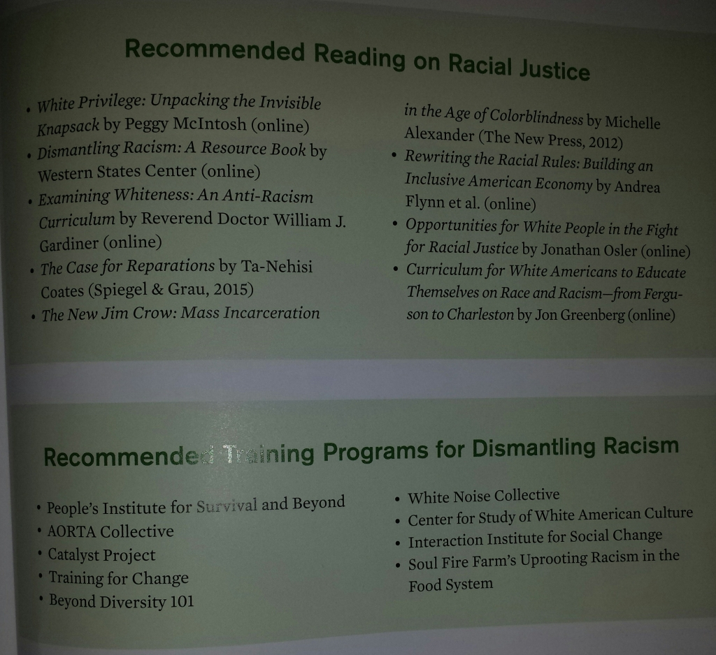 list of racial justice readings and training programs