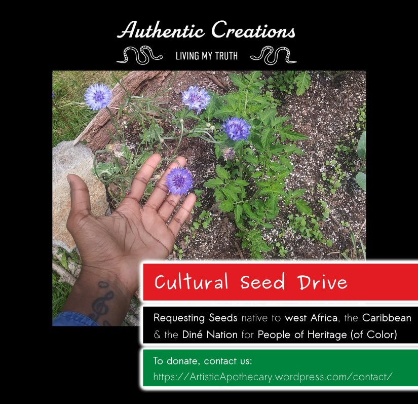 Cultural Seed Drive requests Seeds native to west africa, the Caribbean, and Dine' Nation.