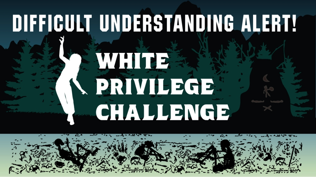 A forest background overlayed with White privilege challenge. the bottom of the image is lined with skeletons