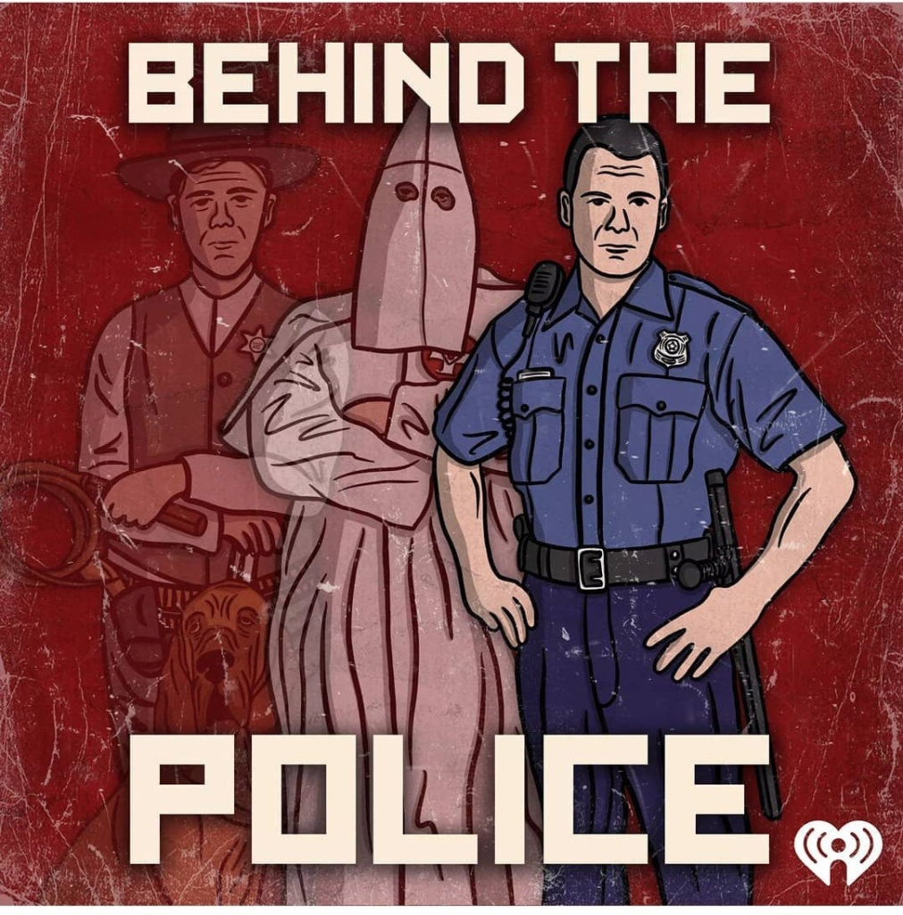 Behind the Police. In front is an officer in blue, then a klu klux klan vigilante, flanked by a slave catcher.