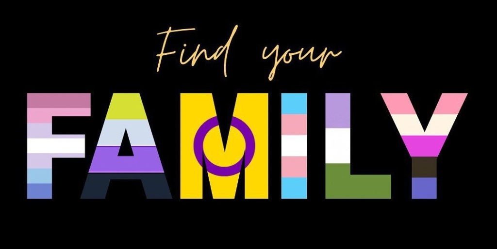 Find your FAMILY. on a black background. FAMILY in bubble letters contains all the gender/queer flags.
