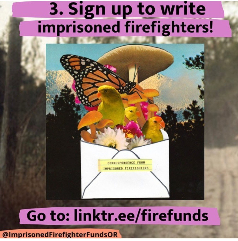 An envelop bursts open with yellow birds, flowers, mushrooms and an orange Butterfly. Write to imprisoned firefighters at linktr.ee/firefunds