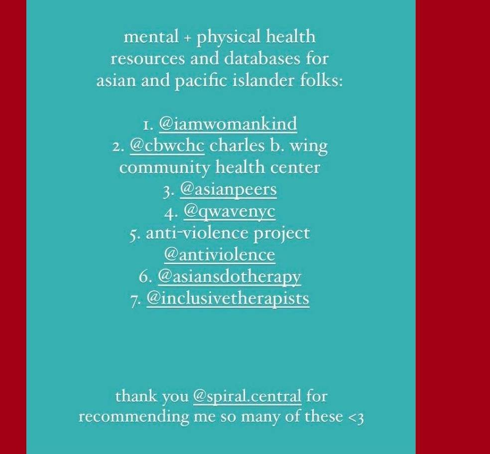 list of mental + physical health resources for asian folks from @spiral.central