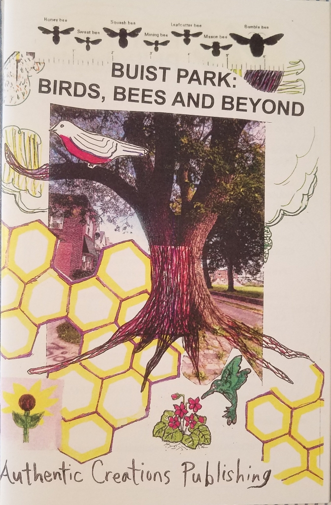 Buist Park Pollinator zine made for Mural Arts. cover has a tree surrounded by honeycomb