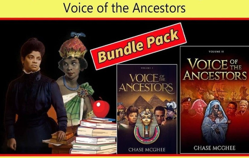 Voice of My Ancestry book bundle by Chase McGhee contains two books and photos of Ancestras.