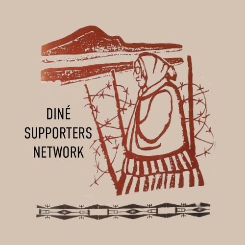 Dine' Supporter network sticker features Roberta strolling on her homeland by a barbed wire fence with mountains in the distance