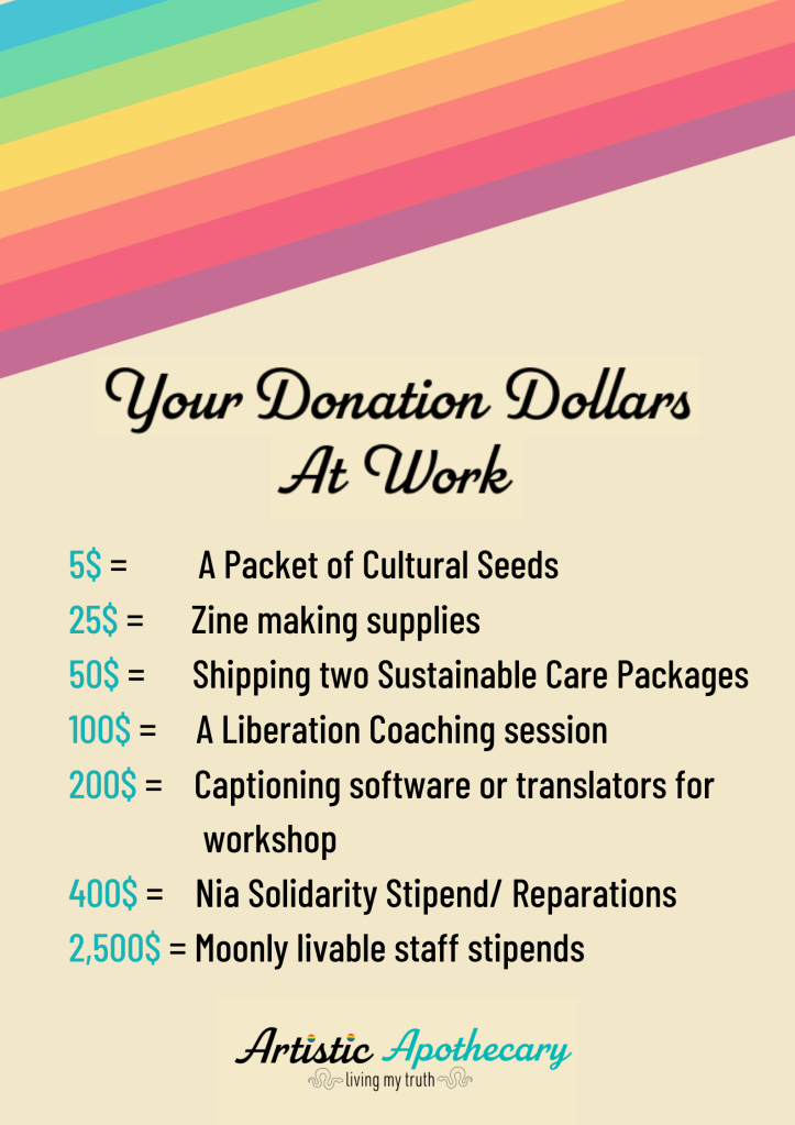 Your donation dollars at work. From 5-2,500$ donations are used to bring societal greatness to genderqueer People Of Heritage through Seeds, art, reparations and rest!