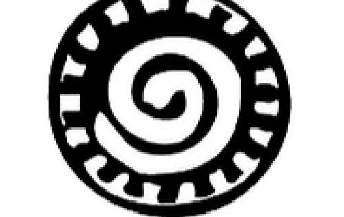 Ghanaian adinkra symbol representing the Sun has a spiral in the center with an outter black and white checker pattern of rays.