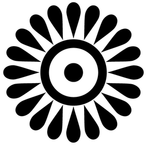 Ghanaian adinkra symbol representing the Sun has a circle with a dot in the middle and 20 petals outside the ring