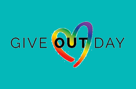 Teal background with the words GIVE OUT DAY. with a rainbow color heart