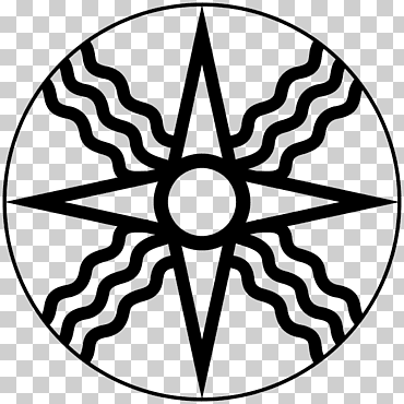 Ghanaian adinkra symbol representing the Sun has a circle in the middle and alternating rays of waves and triangles
