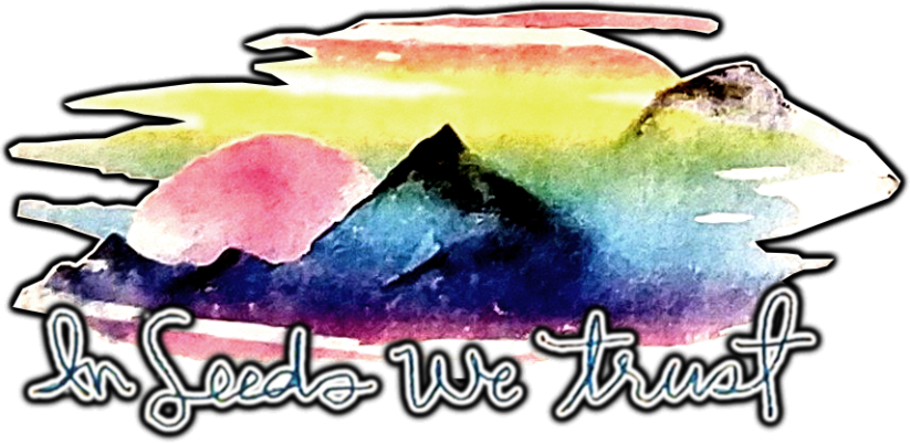 A multi colour mountain view at Sunrise with the words below In Seeds We Trust