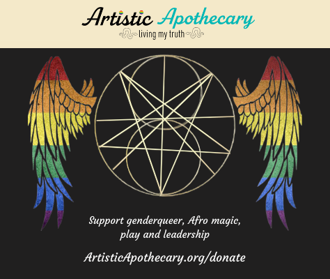 A majikal sigil flanked by rainbow wings is the image on our fundraising flyer