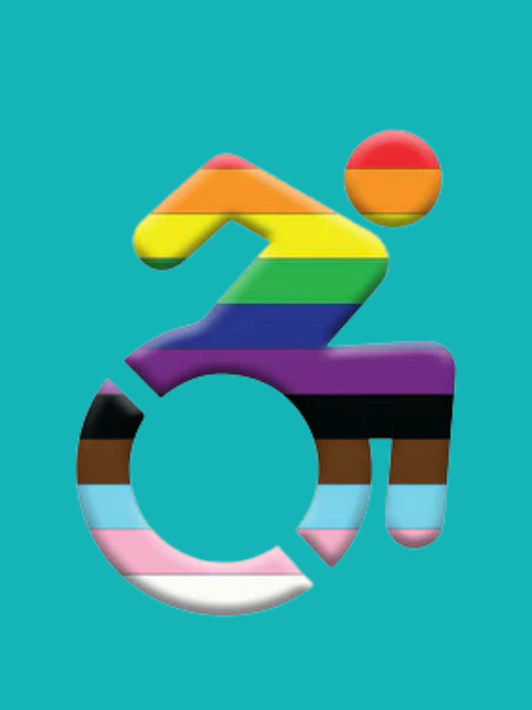 on teal background a queer wearing trans rainbow colors propels forward in their wheelchair