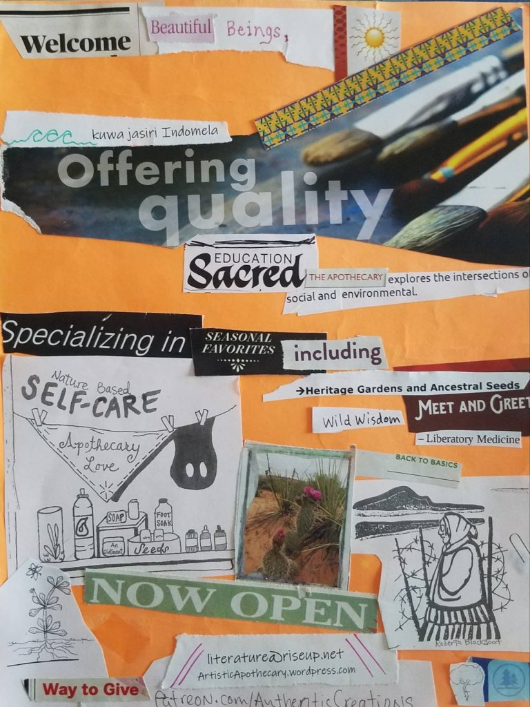 Workshop and liberatory teachings collage on orange paper highlights our offerings and intentions