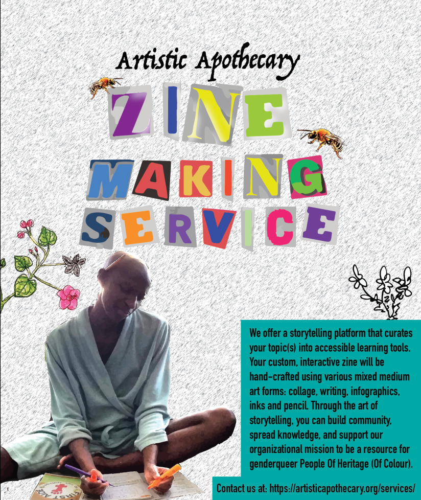 A flyer for a zine making service. kuwa jasiri sits with one leg bent a writing tool in each hand and one hind the ear; passionately working on a zine in a periwinkle robe.