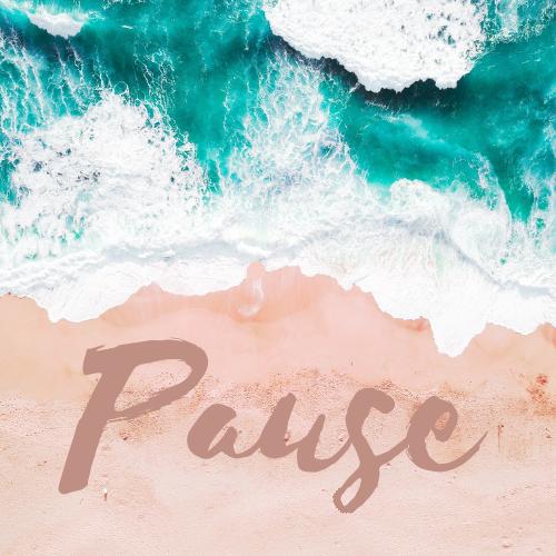 The teal Ocean rolls towards the peach sand shore towards the word Pause