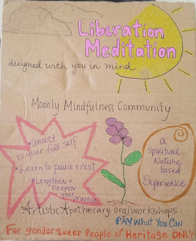 Meditation flyer has a large Sun and blue clouds with a purple flower