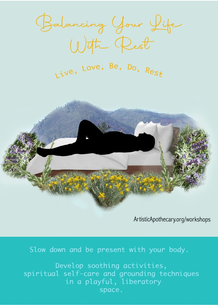Rest flyer image is a fat body laying on a bed in a field of flowers at the base of a mountain.